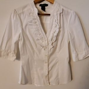 Rampage White V Neck Blouse - M